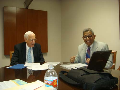 Dr. Prasanta Banerji with Dr. John Mendelsohn, chief of the MDACC